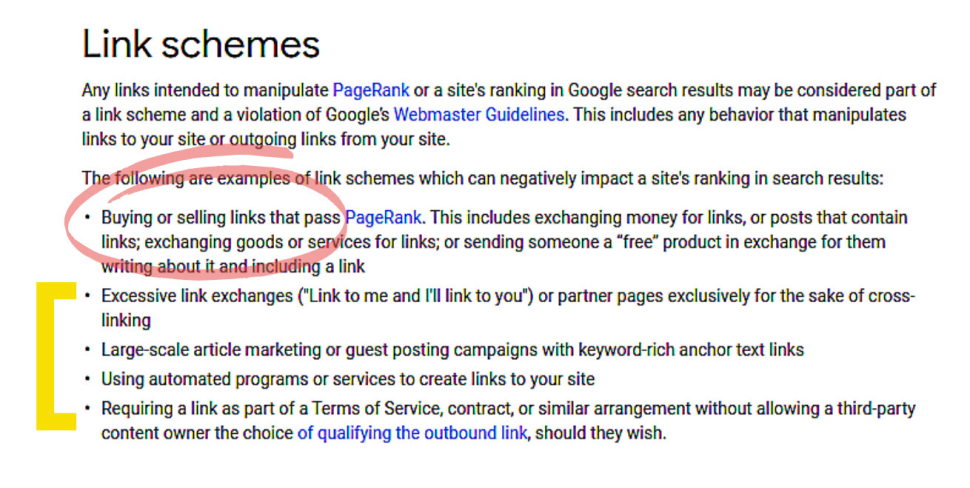 Screenshot of Google Webmaster Guidelines showing rules about Link schemes